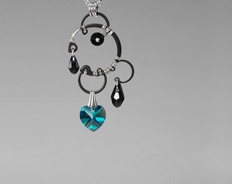 Zircon Swarovski Crystal Industrial Pendant, Blue Zircon Crystals, Statement Jewelry, Aqua Crystal Necklace, Wire Wrapped Jewelry, Ceres v6