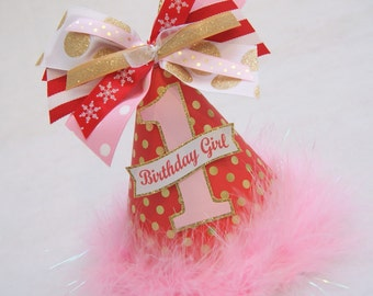 NEW Red, Gold, and Pink Winteronederland Party Hat - Winter Wonderland Party, Onederland Birthday Party, Snowflake birthday party