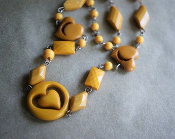 Vintage Heart Necklace Butterscotch Plastic Beads Retro Mid Century Gift for Your Valentine