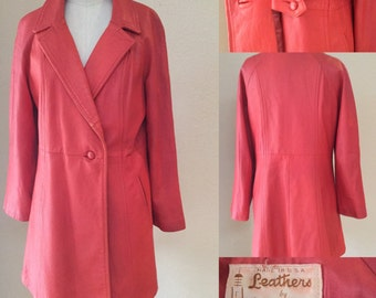 Vintage Red Leather Coat, 60's New England Made Full coat, trench, Mod
