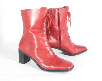 VTG 90's Retro Red Leather Boots size 9 Womens Lace Up Zip Up Chunky Square Toe Mid Calf High Heel Boots
