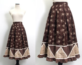 VTG 70's Gunne Sax Calico Prairie Skirt (X Small / Small) Brown Floral Circle Full Skirt Ruffled Hippie Gypsy Boho Jessica's Gunnies