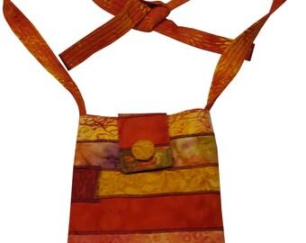 Cross Body Hip Purse in Orange Batiks