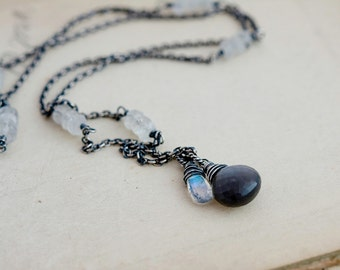 Gemstone Necklace, Moonstone Necklace, Black Moonstone, Sterling Silver, Moonstone Pendant, Rain Storm, Storm Cloud, Gemstone Jewelry,