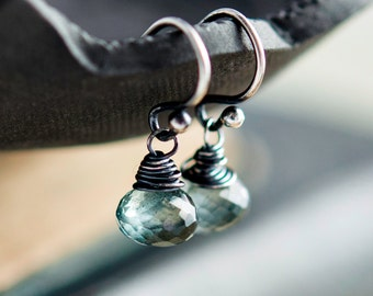 Moss Aquamarine, March Birthstone, Drop Earrings, Sterling Silver, Dangle Earrings, PoleStar, Wire Wrapped, Aquamarine Earrings, Teal, Green