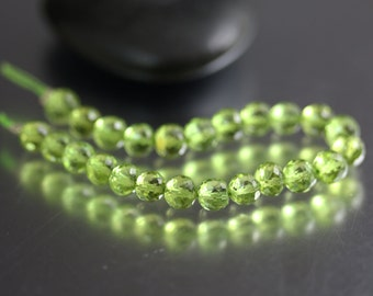 Faceted Peridot Beads - Rounds - Peridot Beads - 4 to 6mm