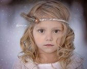 Feather Tieback, Feather Headband, Newborn Photo Prop, Mohair Tiebacks with Feather, Yarn TieBacks