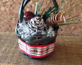 Winter holiday miniature basket