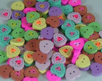 Wooden Painted Hearts Buttons mixed colours 19mm x 8 heart shaped wood button
