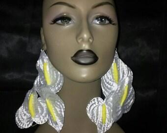Attractive Unique White and Yellow Silk Flower Earrings, Large Earrings, Women Earrings, Fashion Earrings, Long Earrings