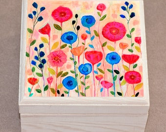 Sway Jewelry Box, Handmade Jewelry box, Floral Wooden Box, Jewelry Organizer