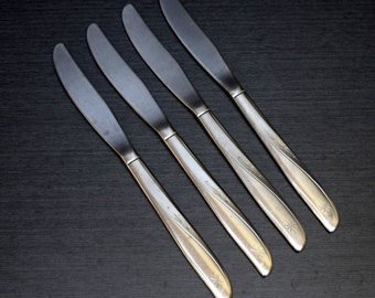 Oneida Community Twin Star Solid Dinner Knives, 4pcs, Flat Handle, Vintage Stainless Flatware, Atomic and Mid Century
