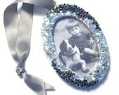 Photo Frame Ornament, Handmade Frame Christmas Ornament, Oval Frame Ornament, Black Silver Beaded Glass Ornament, Picture Frame Ornament