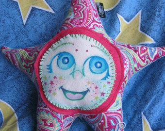 Wishing Star Plush: Neri - Unique Plush Pillow Type Toy with Hand Painted Canvas Face