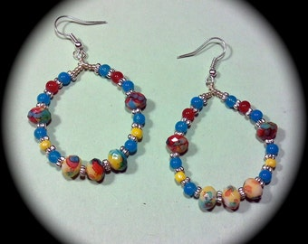 Pretty with Patterned Beads Long Dangle Hoop Style Earrings for Everyday Wear Fashion Earring Boho Native Hippie Tribal Ethnic Cottage Chic