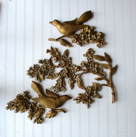 3 Piece Vintage Syroco Bird And Branch Wall Decor Wall Hanging