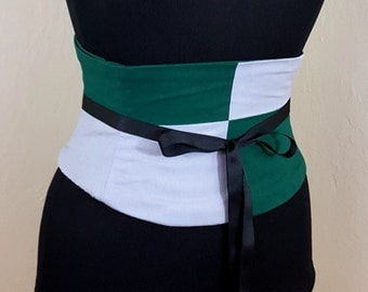 Silver and Emerald Corset Belt Waist Cincher Half and Half Lace Up Boned Sash Any Colors