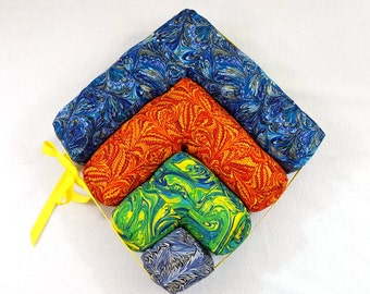 MOVING SALE Marbled Right Angle Puzzle Pillow Set of 4 Stuffed Toy Plush Cubed 3D Puzzle