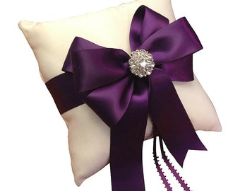 Plum Ring Bearer Pillow - Rhinestone Bridal Pillow -  Ring Pillow - Plum Wedding - Ringbearer Pillow - Ring Cushion - 30 Colors Available