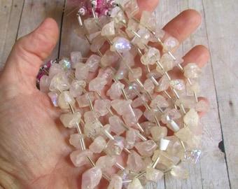25% Off SALE  Mystic Rose Quartz Raw Briolette Beads, Rough Druzy Aqua Aura Nugget Natural Gemstone