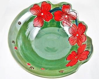 Unique pottery bowl, handmade pottery bowl, home decor pottery, green and red - In stock