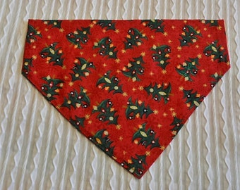 Holiday Dog Bandana with Trees in Dog Collar Style Sizes XS to XL