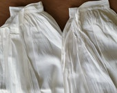 Victorian Antique Aprons, 2 Long White, tucked hemline, 36 inches