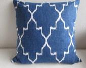 MONACO COBALT blue white Pillow Cover 18x18 20x20 22x22 24x24 26x26