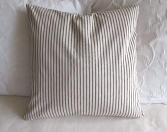 FRENCH TICKING pillow cover brown white16x16 18x18 20x20 22x22 24x24 26x26
