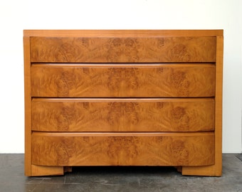 Art Deco Burl Wood Dresser Credenza Chest
