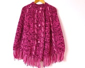 1970s Raspberry & Pink Knit Sweater Cape L