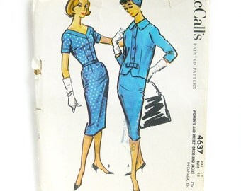 1950s Misses' Dress and Jacket Pattern- Bombshell Wiggle Dress with V-Neckline - McCall's 4637 // Size 12