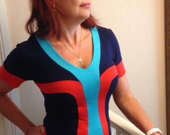 Women's Knit Top, V Neck, Navy Blue and Orange and Aqua Jersey Knit, Short Sleeves w Cuff, Made in Australia.