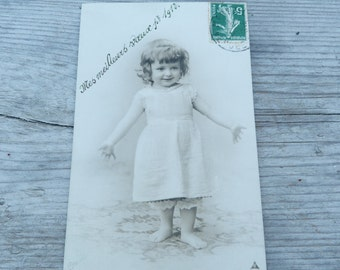 Vintage Antique 1912 French real photography postcard Baby Girl