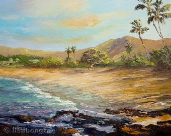 HULOPOE BEACH LANAI Original Palette Knife Oil Painting 11x14 Art Hawaii Manele Bay Resort Ocean Palm Tree Hawaiian Tropical Island Tidepool