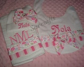 Nola Personalized Premium quality Boutique Style 6-ply   Burp cloth Bib and Hat - Name and/or up to 3 initials