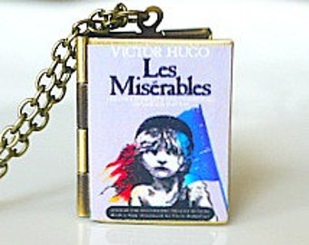 Les Miserables, Victor Hugo, French Poet, French Lit, French History, Jean Valjean, Greatest 19th Century Novel, Book Locket Necklace