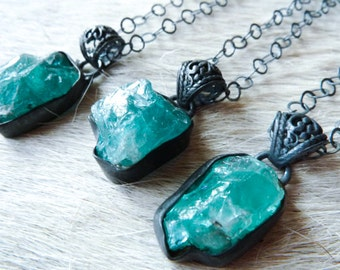 Apatite necklace | Raw apatite necklace | Apatite pendant | Rough apatite necklace | Blue Apatite stone necklace | Charm necklace