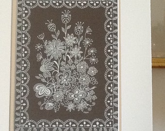 Flower art A delicate Original pen and ink drawing of white flowers with silver highlights  and a lace design border on a taupe background.