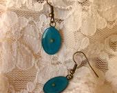 Mustard Seed Earrings... Teal Antique Brass Mustard Seed Earrings - Mustard Seed Dangly Earrings - Mustard Seed Jewelry - Mustard Seed Faith