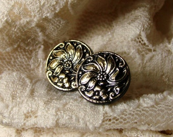 Gold Floral Stud Earrings - Antique Gold & Black Studs - Gold Lotus Earrings - Gold Studs - Black Stud Earrings - Lotus Earrings