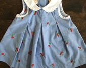 Vintage Baby Dress - Blue with Red Cherries - 12 months