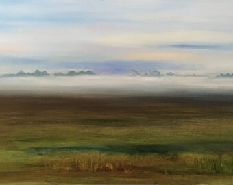 My Kentucky oil painting original art Impressionism Beverly Underwood Foggy Landscape Early morning Highway 231 Ohio County Kentucky