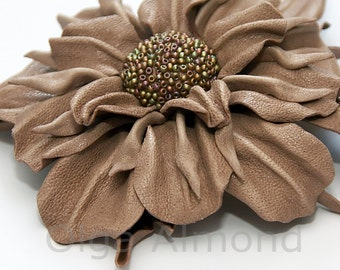 Leather flower. Leather brooch .Beige flower brooch .Fantasy Leather jewelry
