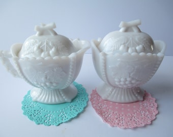 Vintage Westmoreland Cherry Milk Glass Cream and Sugar Set