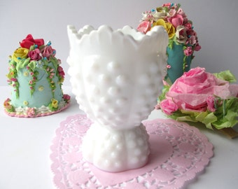 Rare Vintage Fenton Milk Glass Hobnail Egg Cup - Cottage Chic