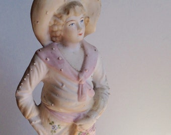 Antique Bisque Statue of Boy in Vintage Clothing, Pink and Peach Colors