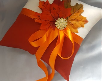 Fall Leaves Ring Bearer Pillow Orange Rust Ivory Autumn Colors Ring Pillow Gold Rhinestone Leaf