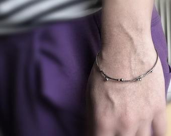 Sterling silver twig bangle bracelet -Woodland Bracelet -Oxidized Branch Bracelet with 18K solid gold dots-Gift under 80