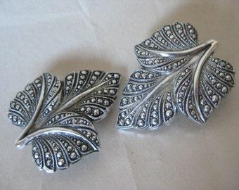 Leaf Silver Earrings Clip Vintage